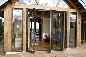 Black aluminium bifold doors