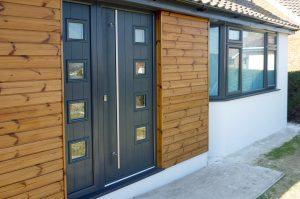 Anthracite grey composite entrance door