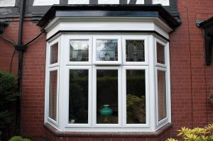 Bay window with stained glass