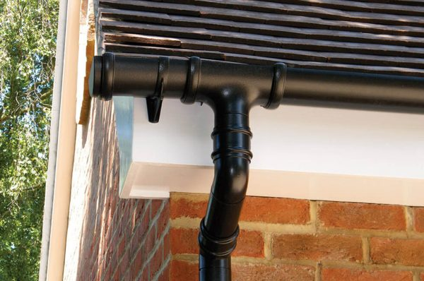 Black uPVC guttering and drain pipe