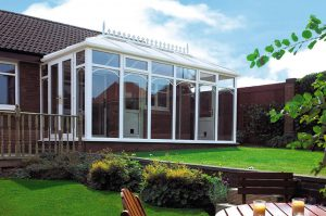 Double hipped uPVC conservatory