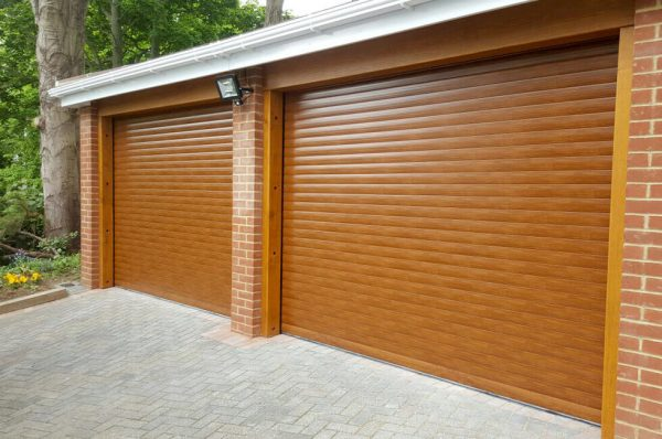 Golden oak effect garage door