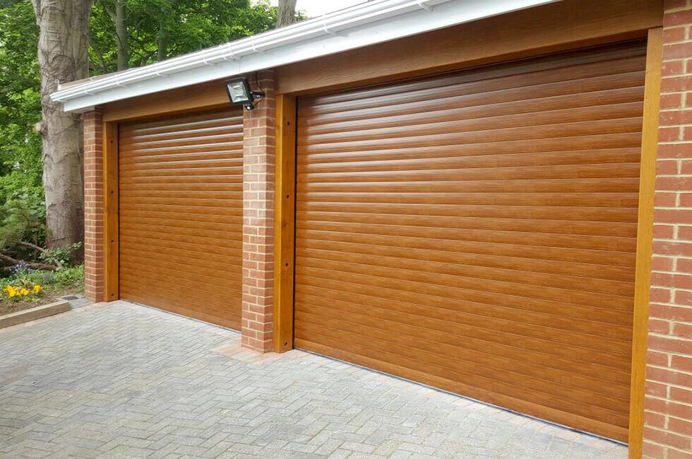 Golden oak effect garage door