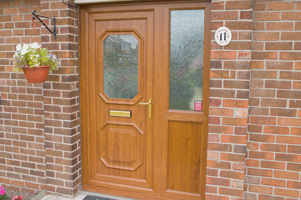 Golden oak uPVC entrance door