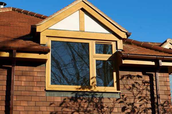 Golden oak flush sash windows