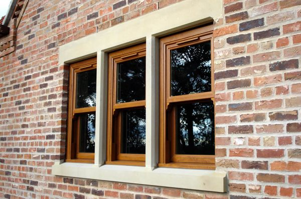 Oak effect uPVC vertical sliding sash windows