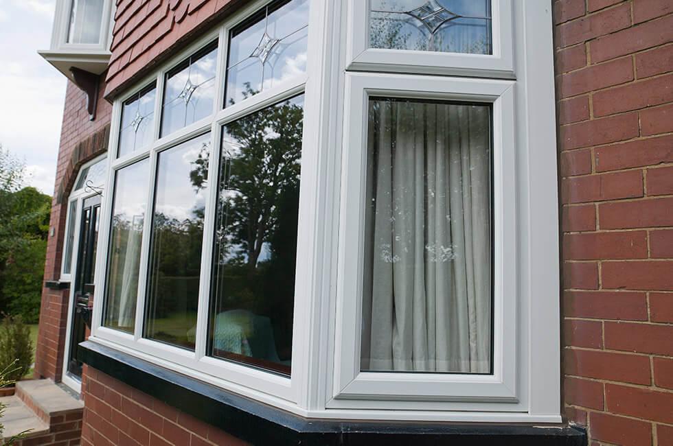 White uPVC bay window